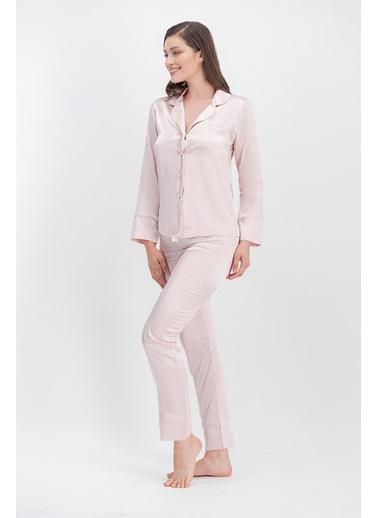 Arnetta Arnetta Basic Ekru Kadın Saten Gömlek Pijama Pembe
